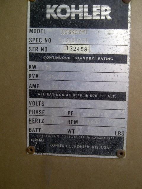 Image 125 kw KOHLER 125ROZ71 Diesel Powered Generator 525318