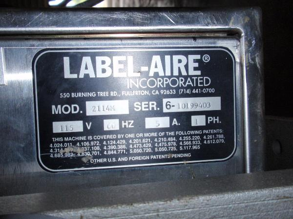 Image LABEL-AIRE Model 2111M Labeler 325076
