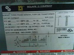 Image SQUARE D 112.5 KVA 480/240 Transformer 325161