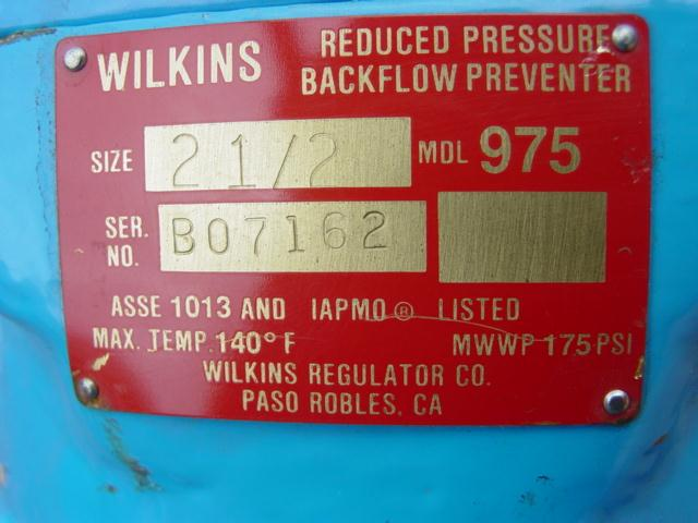 "Image 2 1/2"" WILKINS 975 Backflow Preventer - Unused 327791"