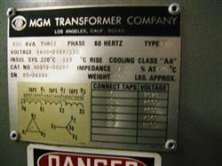 Image 300 KVA Transformer 2400-208Y/125 V, by MGM 329508