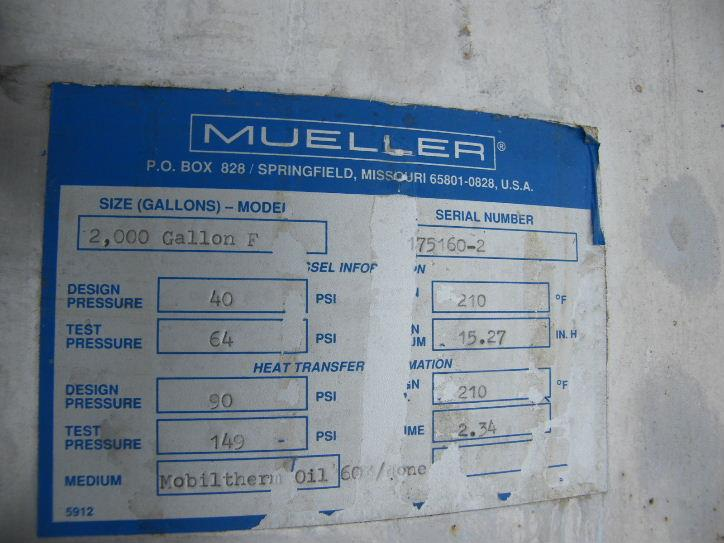 Image 2000 Gal MUELLER Jacketed Vessel, 40 PSI 763183