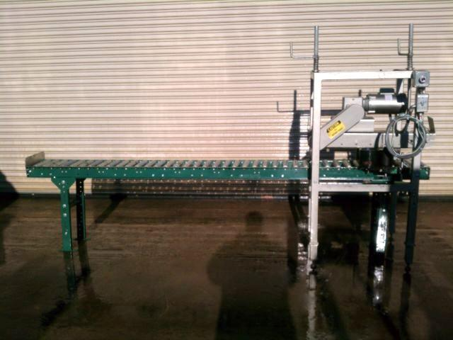 Case Conveyor w/ Powered Top Case Compression Unit and Roll On Dater