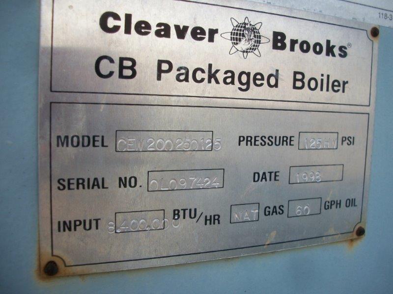 Image 250HP CLEAVER BROOKS CB/200250125 Packaged Firetube Hot Water Boiler 633975