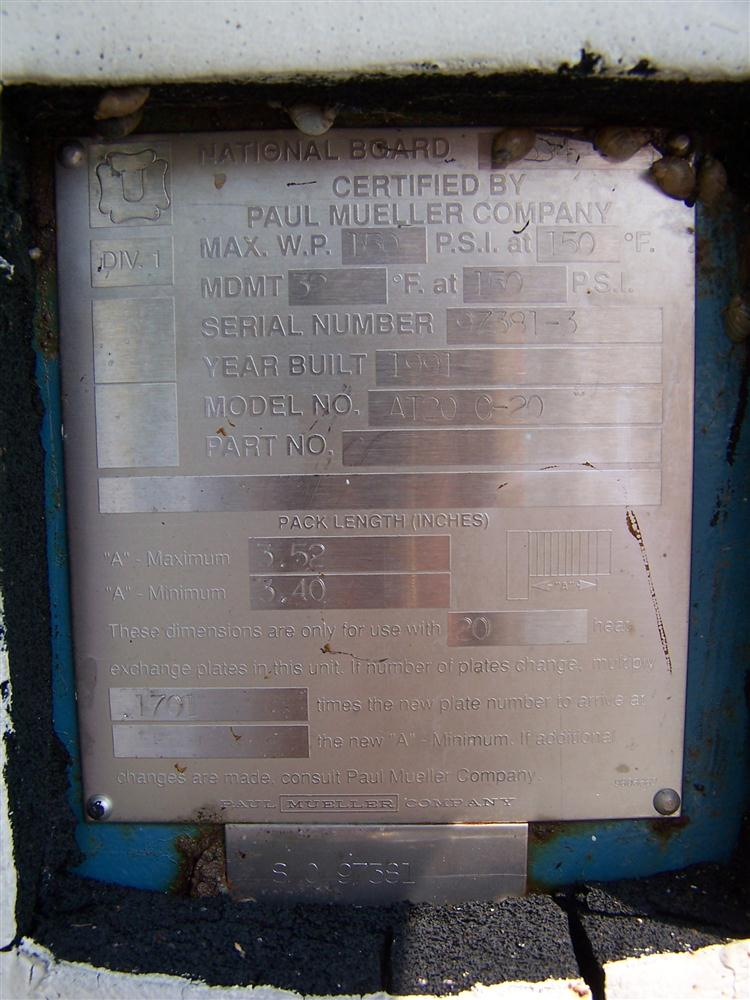 MUELLER AT20 C-20 Stainless Steel Plate Heat Exchanger