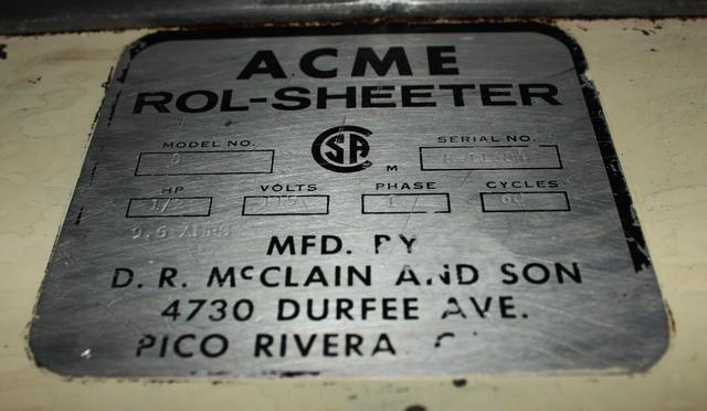 ACME Model 8 Rol-Sheeter