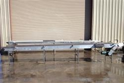"152444 - 28"" x 22' Long SS Case Tray Conveyor with Pneumatic Case Stops"