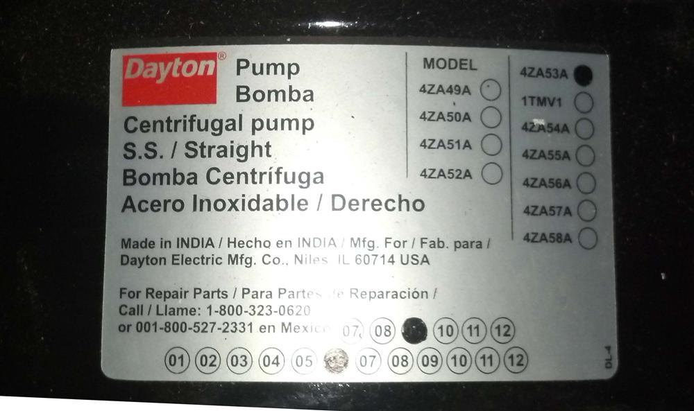 DAYTON 4ZA53A Straight - 154982 For Sale Used N/A