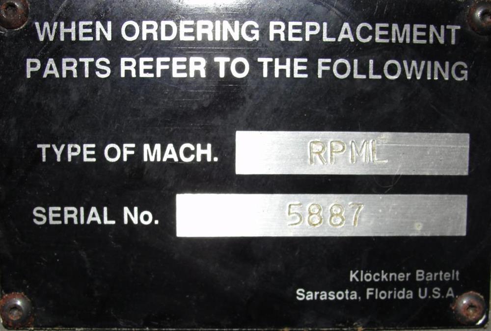 Image KHS KLOCKNER BARTELT Model RPML Horizontal Form, Fill and Seal Machine 490927