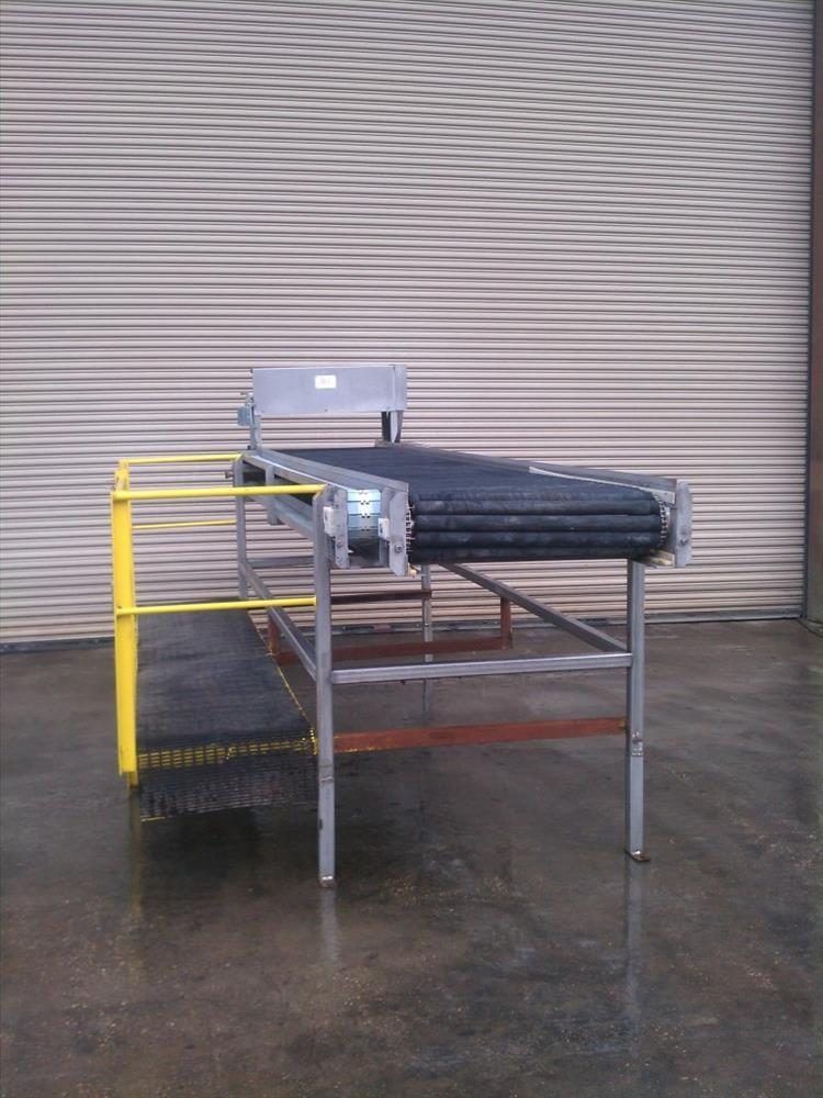 """Image 32"""" Wide x 14' Long SS Pack Off Conveyor with Operator Platform 422529"""