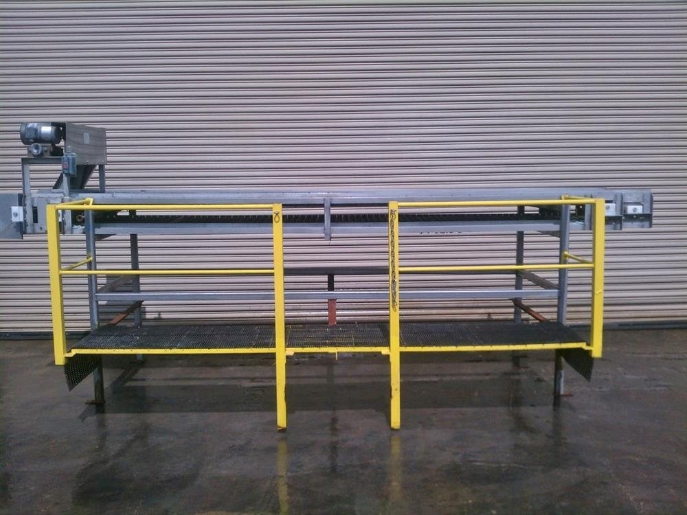 """Image 32"""" Wide x 14' Long SS Pack Off Conveyor with Operator Platform 422530"""