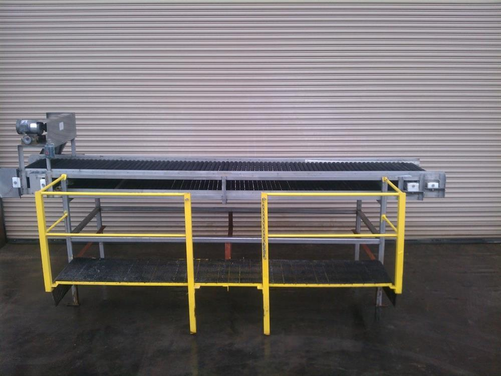 "32"" Wide x 14' Long SS Pack Off Conveyor with Operator Platform"