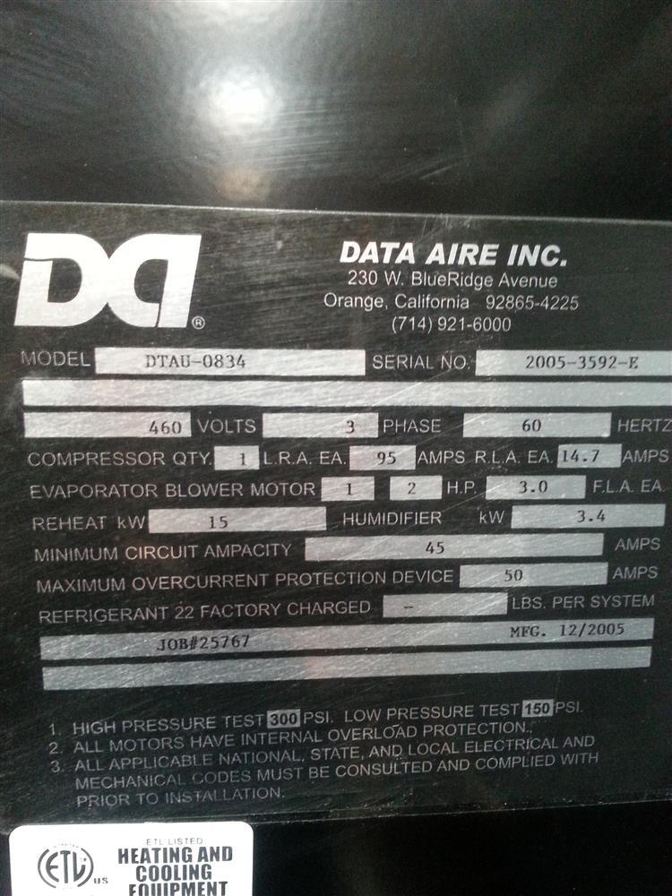 167298 3 data aire cooling unit 167298 for sale used data aire wiring diagrams at readyjetset.co