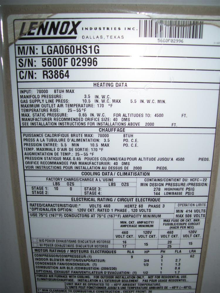 5 Ton Lennox Lga060hs1g Pac 167593 For Sale Used