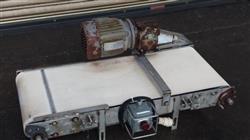 "Image 16"" x 40"" Long Stainless Steel Flat Belt Conveyor, White Food Belt 498137"