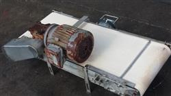"Image 16"" x 40"" Long Stainless Steel Flat Belt Conveyor, White Food Belt 498139"