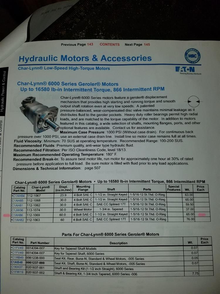 CHAR-LYNN Hydraulic Motor - 185966 For Sale Used
