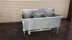 194302 - 3 Compartment Commercial Stainless Steel Sink with Drains