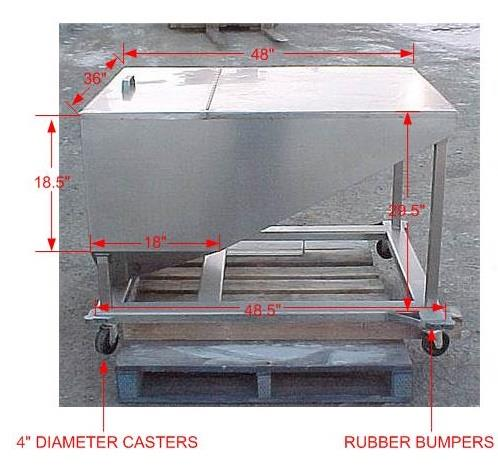 Image 14.5 Cubic Feet 108 Gallon Stainless Steel Tote on Wheels 867639