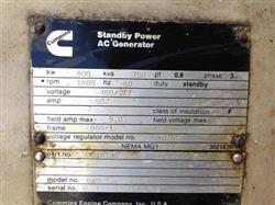 Image 600 KW CUMMINS 680 FDR 712 8HH Generator 579950