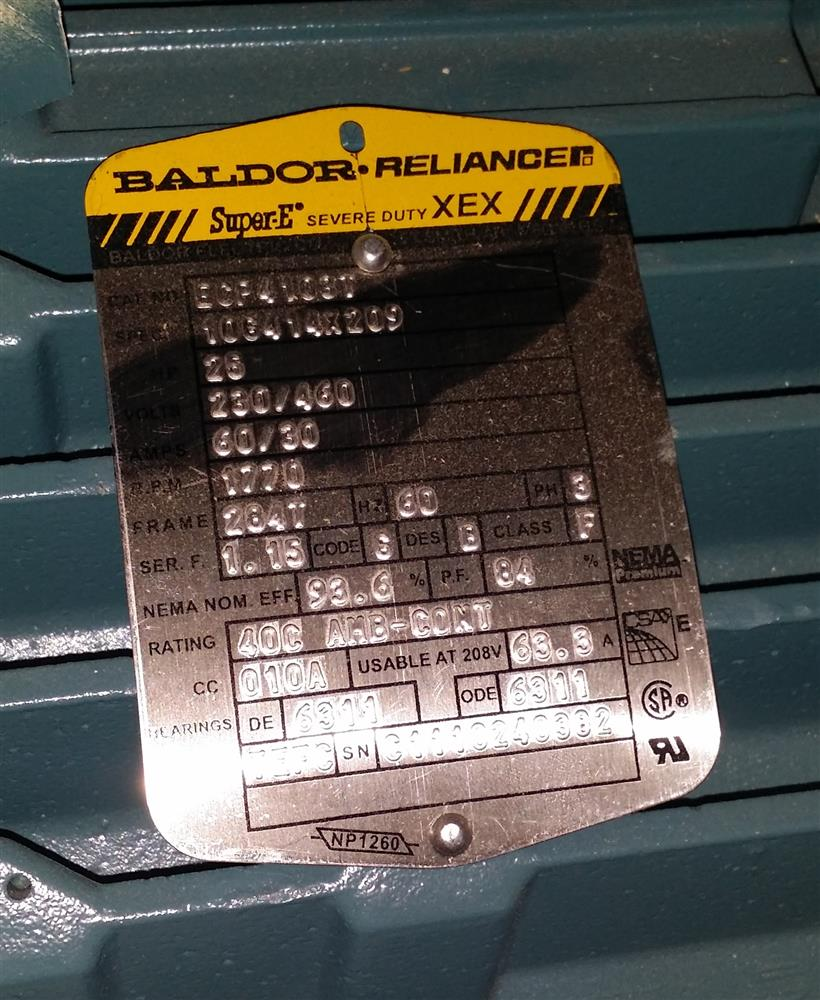 25 hp baldor reliance super 206415 for sale used for Baldor reliance super e motor