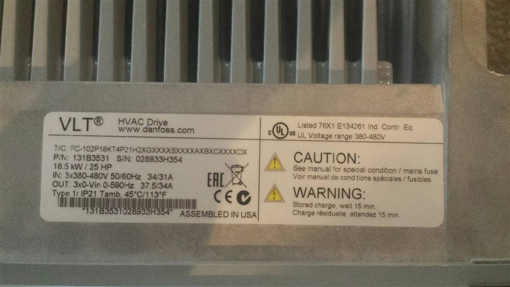 Image DANFOSS VLT HVAC Frequency Drive 640371