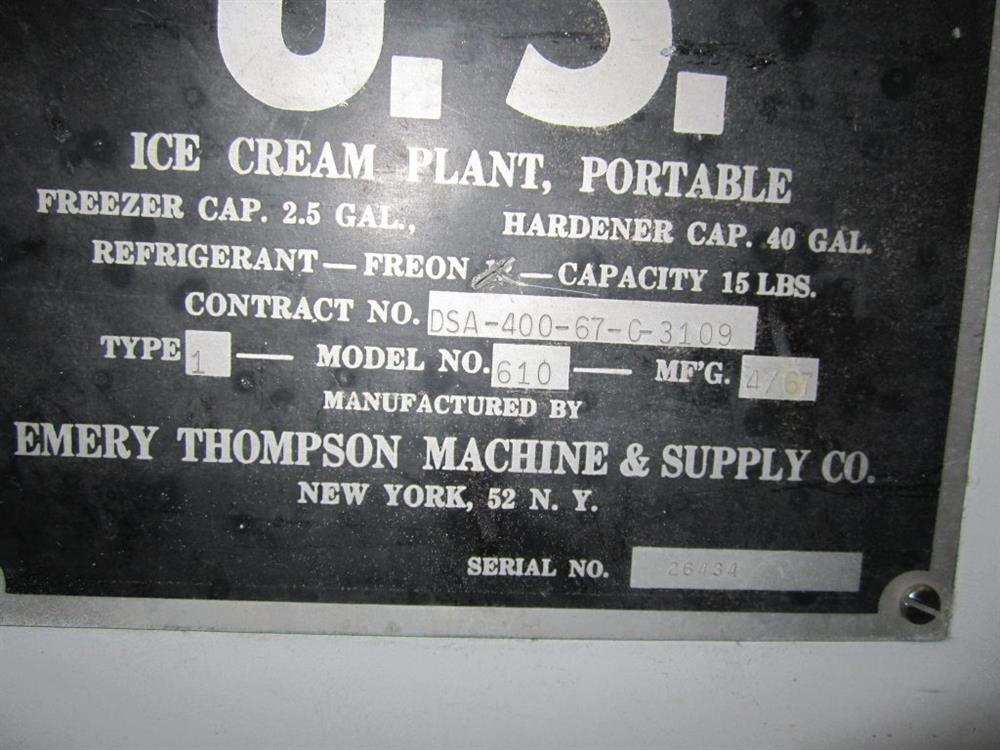 Image EMERY THOMPSON 610 Ice Cream Freezer 1491284