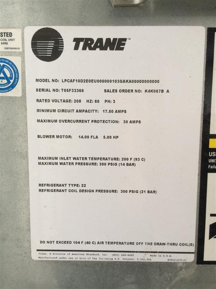 Image TRANE Air Handling Unit 675897