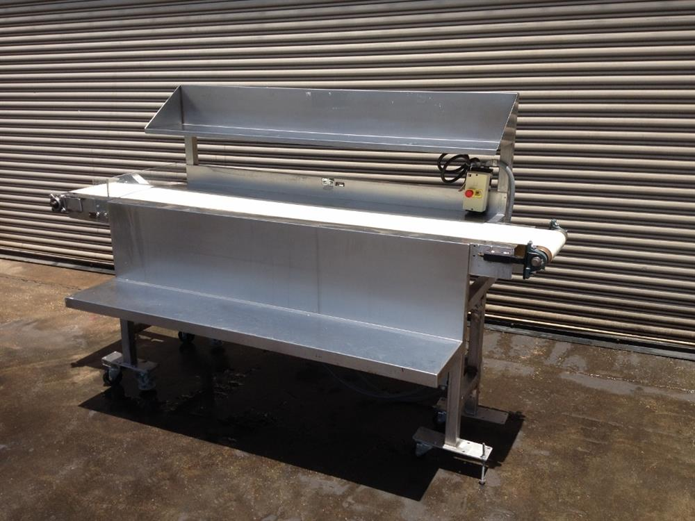 "Image 12"" x 100"" Long Stainless Steel Food Conveyor Pack Off Table 676869"