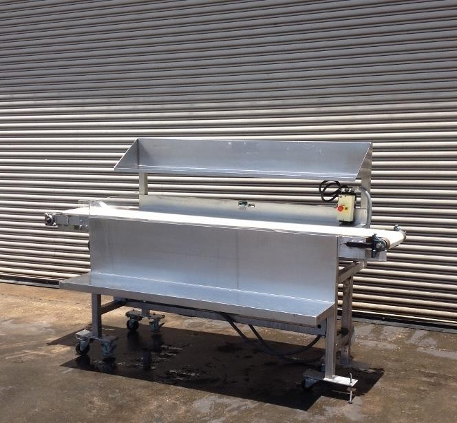 "Image 12"" x 100"" Long Stainless Steel Food Conveyor Pack Off Table 676871"