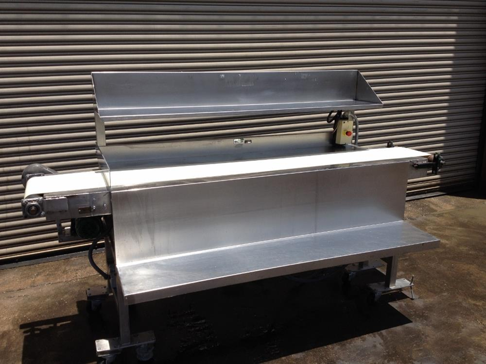 "Image 12"" x 100"" Long Stainless Steel Food Conveyor Pack Off Table 676875"