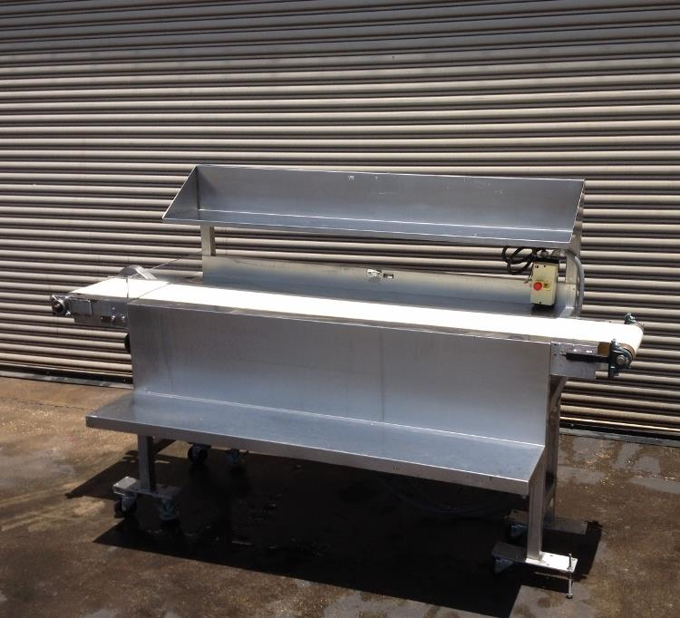 "Image 12"" x 100"" Long Stainless Steel Food Conveyor Pack Off Table 676876"