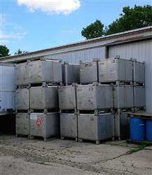 232177 - 350 Gallon IBC Stainless Steel Totes (Lot of 34)