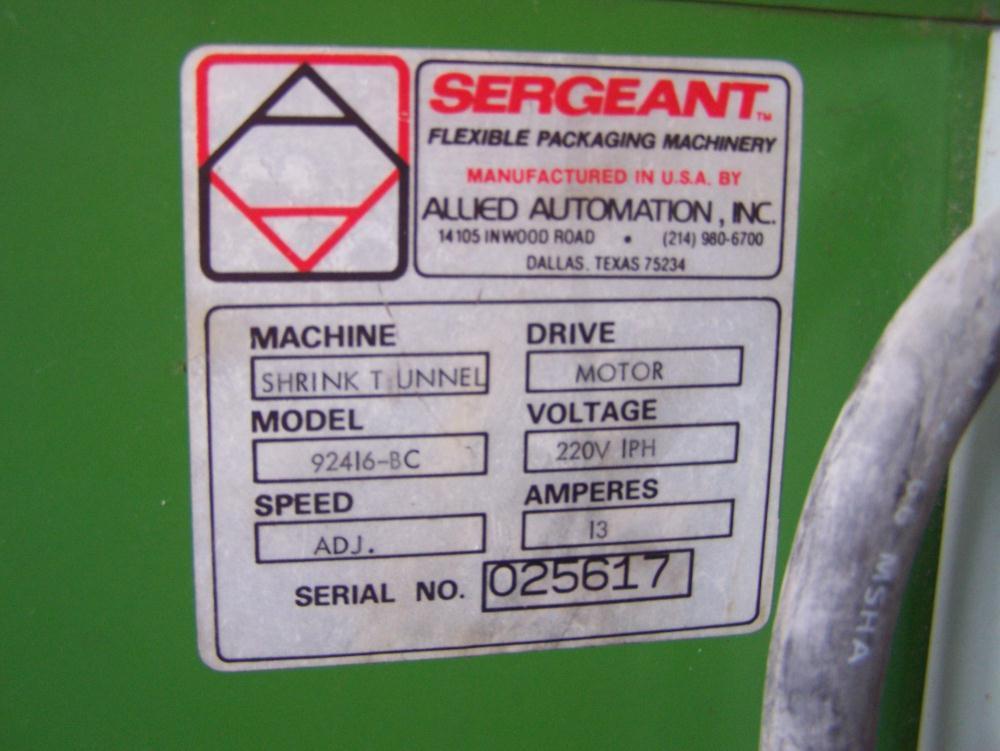 Image SERGEANT 92416-BC Shrink Tunnel 680431