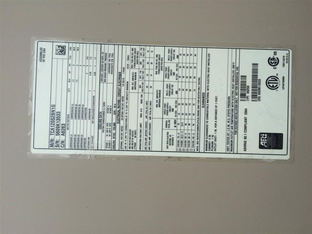 Image 10 Ton LENNOX TCA120S2BN1G Air Conditioner 680628