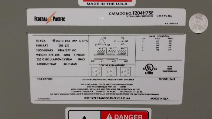 Image FEDERAL PACIFIC 75 Kva Step Up Transformer 683344