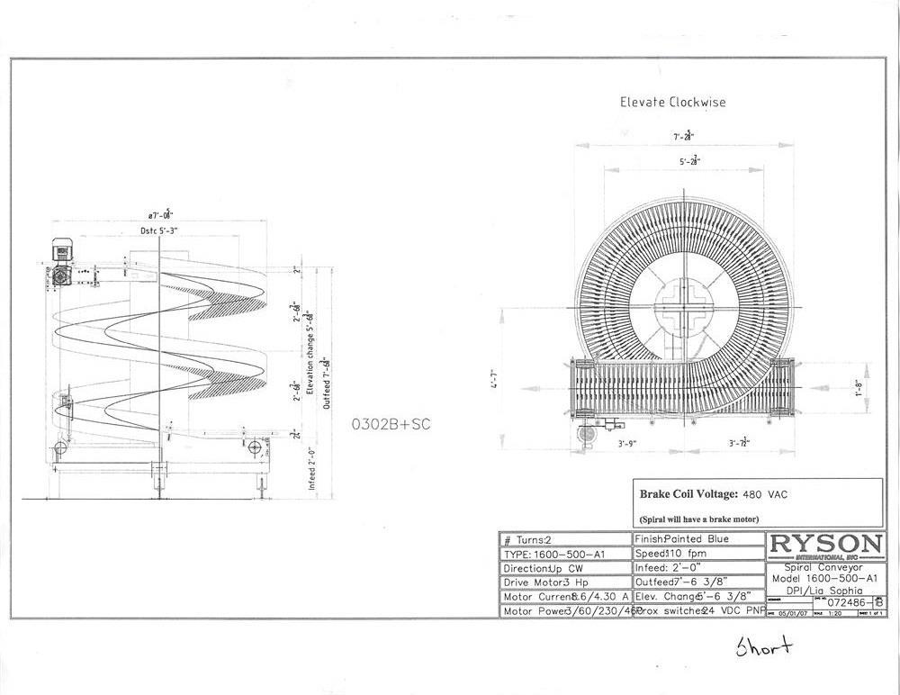 Image RYSON 1600-500-A1 Spiral Case Elevator Conveyor 687495