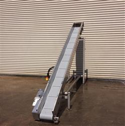 "239458 - 10"" x 12' L Stainless Steel Cleated Decline Food Conveyor"