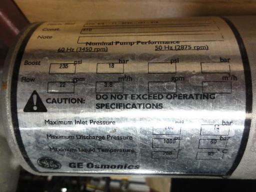Image GE OSMONICS Tonkaflow RO System Pump Water Treatment System T&T (2) 695610