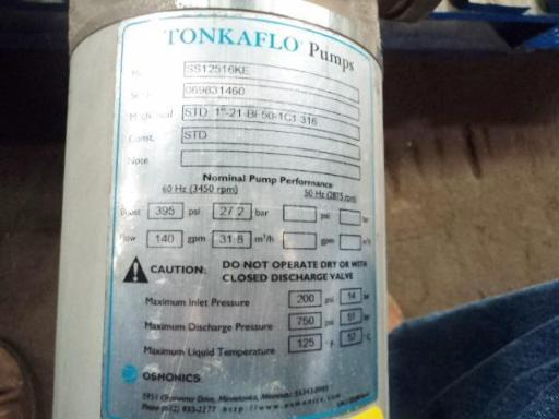 Image GE OSMONICS Tonkaflow RO System Pump Water Treatment System T&T (2) 695605