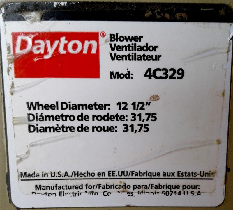 Image 3HP DAYTON 4C329 Blower 1279604
