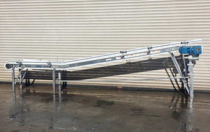 Image 8.5in x 16ft L SPANTECH Incline Conveyor - Stainless Steel, Food Grade 733872
