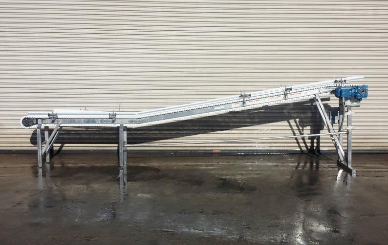 Image 8.5in x 16ft L SPANTECH Incline Conveyor - Stainless Steel, Food Grade 733873