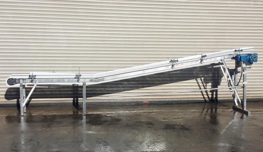 Image 8.5in x 16ft L SPANTECH Incline Conveyor - Stainless Steel, Food Grade 733875