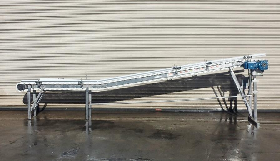 Image 8.5in x 16ft L SPANTECH Incline Conveyor - Stainless Steel, Food Grade 733878