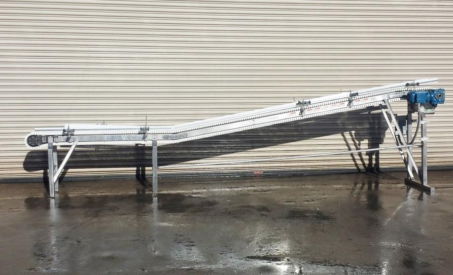 Image 8.5in x 16ft L SPANTECH Incline Conveyor - Stainless Steel, Food Grade 733879