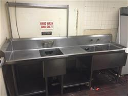 257101 - 3-Compartment Steel Sink with 2 Dry Boards, 2 Underside Off the Ground Shelves