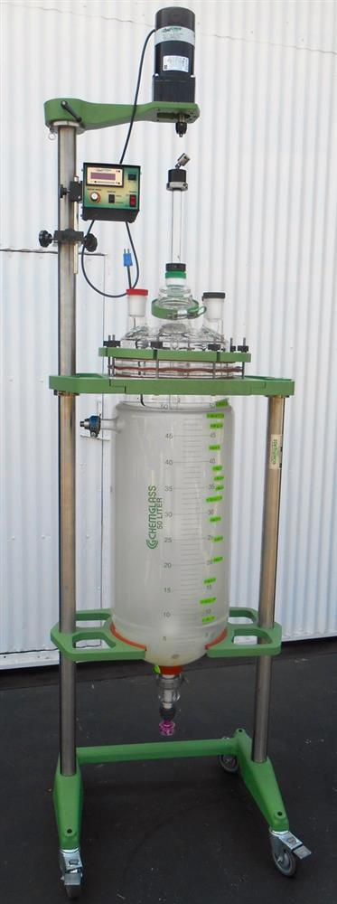 CHEMGLASS Jacketed Reactor with Agitator - Approx. 13 Gallons