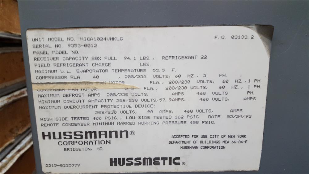 Image HUSSMAN Refrigeration Unit 783357