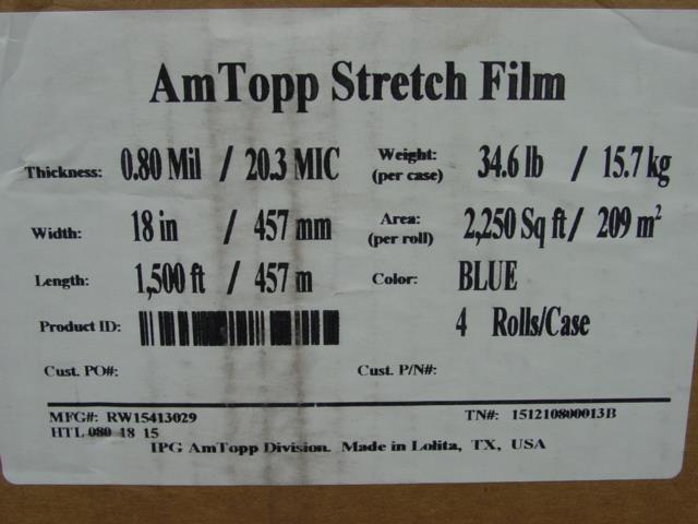 """Image AM TOPP Blue Hand Stretch Film - 18"""" 80 ga 1500"""